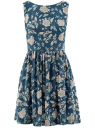 Платье принтованное с бантом на спине oodji #SECTION_NAME# (синий), 11900181-2/35271/7912F