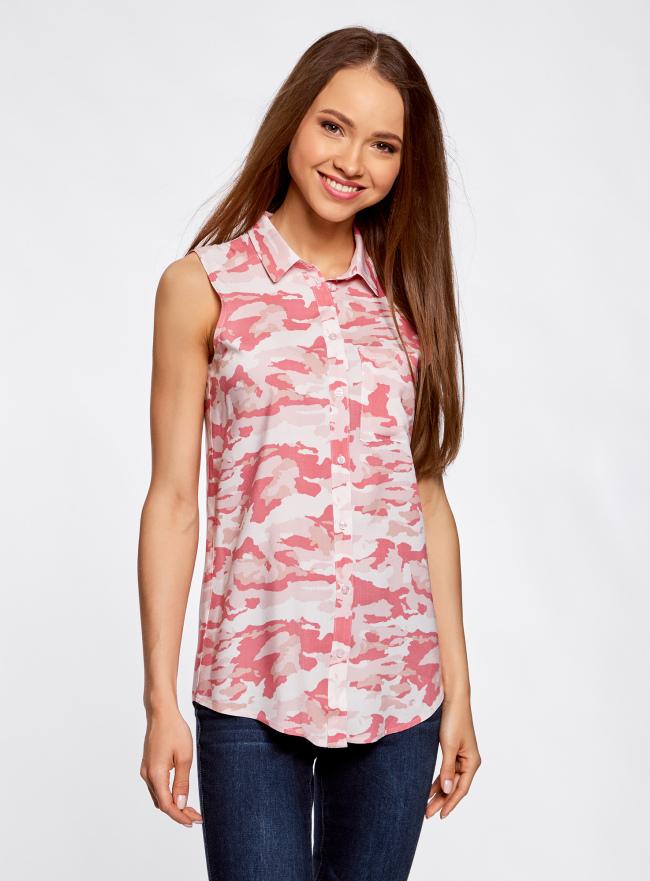 Топ вискозный с нагрудным карманом oodji для женщины (розовый), 11411108B/26346/4041O