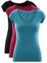 Комплект из трех базовых футболок oodji для женщины (разноцветный), 14711002T3/46157/19RCN