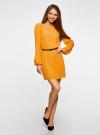 Платье из шифона с ремнем oodji для женщины (желтый), 11900150-5B/32823/5200N - вид 2