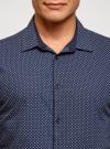 Рубашка хлопковая в мелкую графику oodji #SECTION_NAME# (синий), 3L110376M/19370N/7975G - вид 4