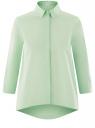 Рубашка свободного силуэта с асимметричным низом oodji #SECTION_NAME# (зеленый), 13K11002-1B/42785/6500N