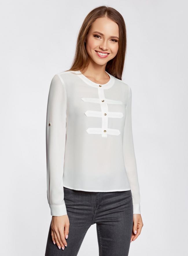 Блузка шифоновая в стиле милитари oodji для женщины (белый), 11411062/43291/1200N