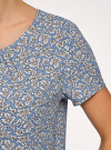 Блузка свободного силуэта с вырезом-капелькой oodji #SECTION_NAME# (синий), 11411157/46633/7054O - вид 5