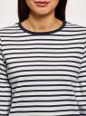 Футболка свободного силуэта с воланами на рукавах oodji для женщины (белый), 14201527/38261/2074S
