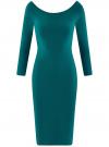 Платье облегающее с вырезом-лодочкой oodji #SECTION_NAME# (зеленый), 14017001-6B/47420/6E00N