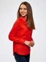 Рубашка хлопковая свободного силуэта oodji #SECTION_NAME# (красный), 11411101B/45561/4500N - вид 2
