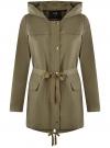 Куртка удлиненная на кулиске oodji для женщины (зеленый), 11D03006/24058/6601N