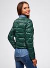 Куртка стеганая с круглым вырезом oodji #SECTION_NAME# (зеленый), 10203050-2B/33445/6900N - вид 3