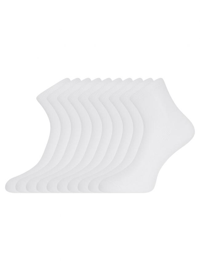 Комплект из десяти пар хлопковых носков oodji для женщины (белый), 57102809T10/48022/1