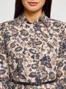 Туника принтованная из вискозы с ремнем oodji для женщины (бежевый), 21412057-2/17466/3375E