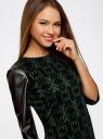 Платье с флоком и отделкой из искусственной кожи oodji для женщины (зеленый), 14001143-3/42376/6929O