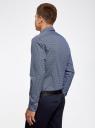 Рубашка хлопковая в мелкую графику oodji #SECTION_NAME# (синий), 3L110274M/19370N/7910G - вид 3