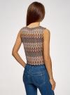 Топ из фактурной ткани с этническим узором oodji для женщины (коричневый), 15F05004/45509/3762E - вид 3