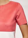 Блузка колор блок из искусственной замши oodji для женщины (красный), 18K01004/47301/4333B