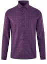 Рубашка приталенная с этническим принтом oodji #SECTION_NAME# (фиолетовый), 3L110343M/19370N/8883E