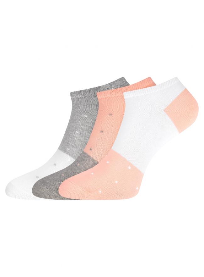 Комплект из трех пар укороченных носков oodji для женщины (разноцветный), 57102433T3/47469/98