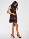 Платье принтованное из шифона oodji для женщины (черный), 11900188-2/15036/2945F
