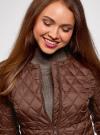 Куртка стеганая с круглым вырезом oodji #SECTION_NAME# (коричневый), 18304005/47048/3900N - вид 4