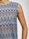 Топ из фактурной ткани с этническим узором oodji #SECTION_NAME# (фиолетовый), 15F05004/45509/8030E - вид 5