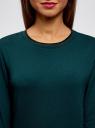 Свитшот прямого силуэта с круглым вырезом oodji для женщины (зеленый), 14801018/15118/6C00N