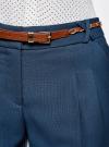 Брюки из фактурной ткани с ремнем oodji для женщины (синий), 21714019-3/46742/7901N - вид 4