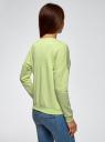 Свитшот с вырезом-лодочкой и принтом oodji для женщины (зеленый), 14808006/38333/6B41P