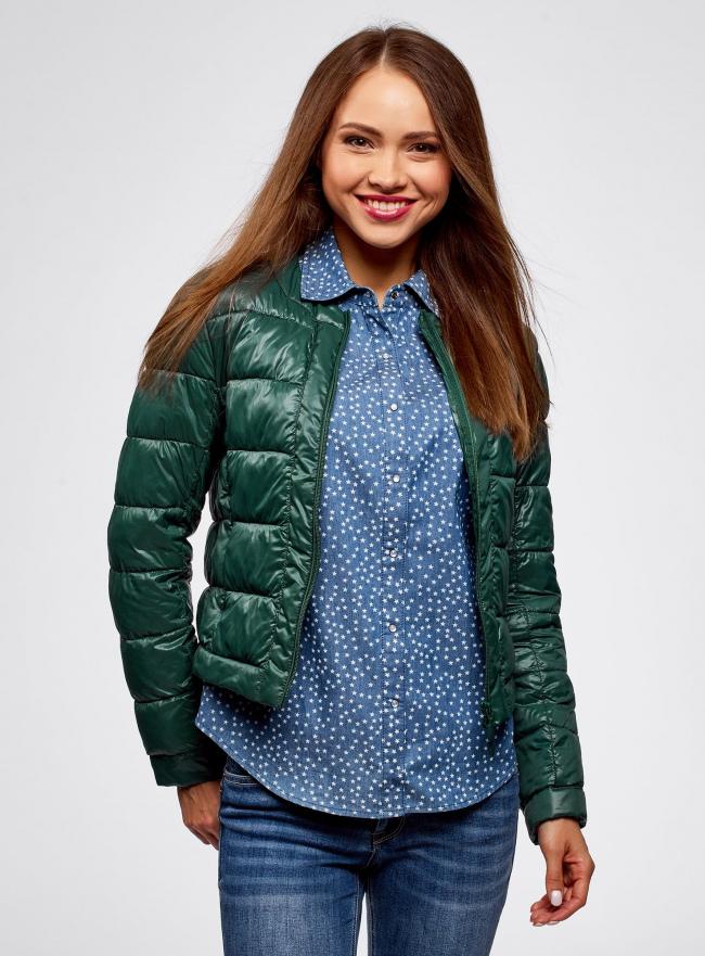 Куртка стеганая с круглым вырезом oodji #SECTION_NAME# (зеленый), 10203050-2B/33445/6900N