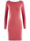 Платье трикотажное облегающего силуэта oodji для женщины (розовый), 14001183B/46148/4100N