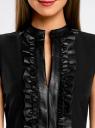 Платье комбинированное с юбкой из искусственной кожи oodji #SECTION_NAME# (черный), 11902141/42442/2900N - вид 4