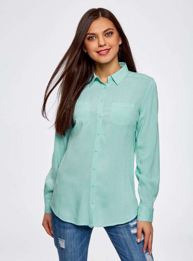 Блузка с нагрудными карманами и регулировкой длины рукава oodji для женщины (бирюзовый), 11400355-3B/14897/7300N