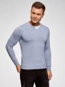 Пуловер с хлопковой вставкой на груди oodji #SECTION_NAME# (синий), 4B212006M/39245N/7001B - вид 2
