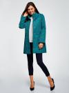 Пальто прямого силуэта из фактурной ткани oodji #SECTION_NAME# (бирюзовый), 10104043/43312/6C00N - вид 6