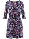 Платье вискозное с рукавом 3/4 oodji #SECTION_NAME# (синий), 11901153-1B/42540/7945F