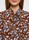 Блузка вискозная с завязками на воротнике oodji #SECTION_NAME# (разноцветный), 11411123/26346/3770F - вид 4
