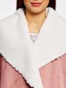 Кардиган вязаный с полами из искусственного меха oodji #SECTION_NAME# (розовый), 73205182-1/31328/4B00N - вид 4