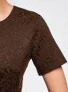 Платье жаккардовое с коротким рукавом oodji для женщины (коричневый), 11902161/45826/3900N - вид 5