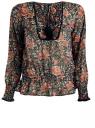 Блузка принтованная с кисточками и резинками oodji #SECTION_NAME# (коричневый), 21411107/17358/3755F