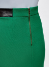 Юбка короткая с отделкой из искусственной кожи oodji #SECTION_NAME# (зеленый), 11601179-10/46415/6E00N - вид 5