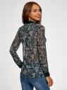 Блузка шифоновая с контрастными элементами oodji для женщины (черный), 11401245/43074/2912E