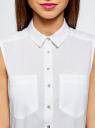 Топ хлопковый с рубашечным воротником oodji для женщины (белый), 14901416B/45510/1000N