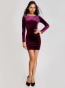 Платье прилегающего силуэта из бархата oodji для женщины (фиолетовый), 14000165/46056/8800N