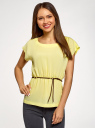 Блузка из вискозы с пояском oodji #SECTION_NAME# (желтый), 11400345-5B/48756/5200N - вид 2