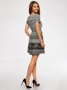 Платье принтованное из вискозы oodji для женщины (белый), 11900191-3/26346/1229E