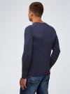 Пуловер базовый с V-образным вырезом oodji #SECTION_NAME# (синий), 4B212007M-1/34390N/7900M - вид 3