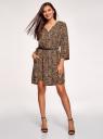 Платье вискозное с ремнем oodji #SECTION_NAME# (коричневый), 11900180B/48458/3729A - вид 2