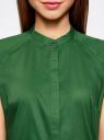 Рубашка с коротким рукавом из хлопка oodji #SECTION_NAME# (зеленый), 11403196-3/26357/6E00N - вид 4
