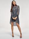 Платье шифоновое с асимметричным низом oodji для женщины (синий), 11913032/38375/7933E - вид 2