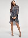 Платье шифоновое с асимметричным низом oodji #SECTION_NAME# (синий), 11913032/38375/7933E - вид 2