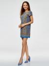 Платье прямое базовое oodji #SECTION_NAME# (синий), 22C01001-1B/45559/7557E - вид 6